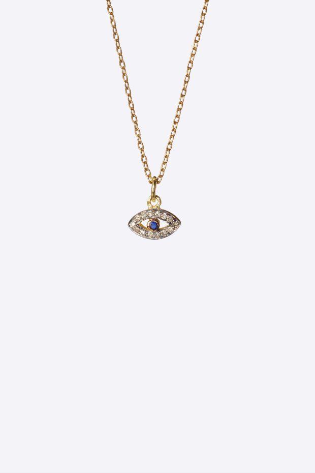5 Octobre Collier MINI PHO EYE - Argent doré or fin & Diamants