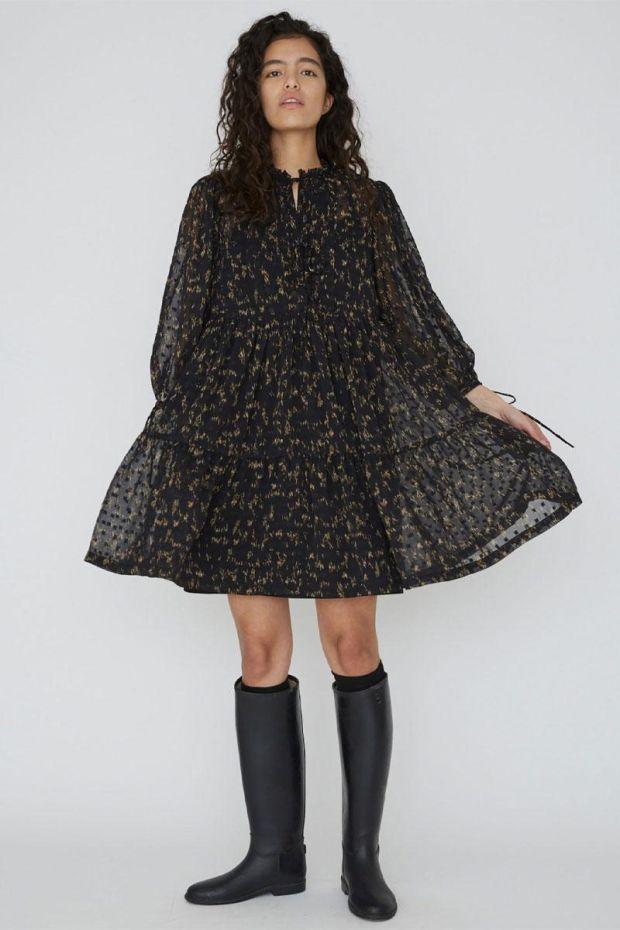 Designers Remix Robe Kiely Dress - BlackCamel Print