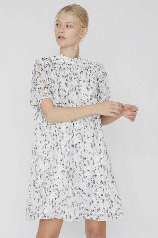 Designers Remix Robe Kiely Sleeve Dress - CreamBlack Print