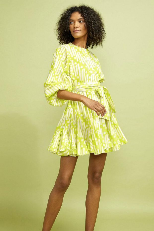RHODE EMMA Dress - Chartreuse Batik