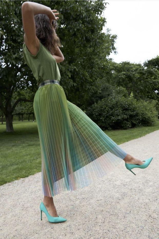 Coster Copenhagen Skirt in degrade plissé - Forest Green