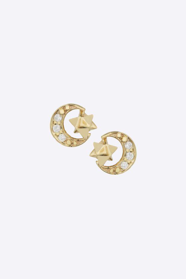CELINE DAOUST Boucles d'Oreilles Moon Diamants & Merkabah - La paire