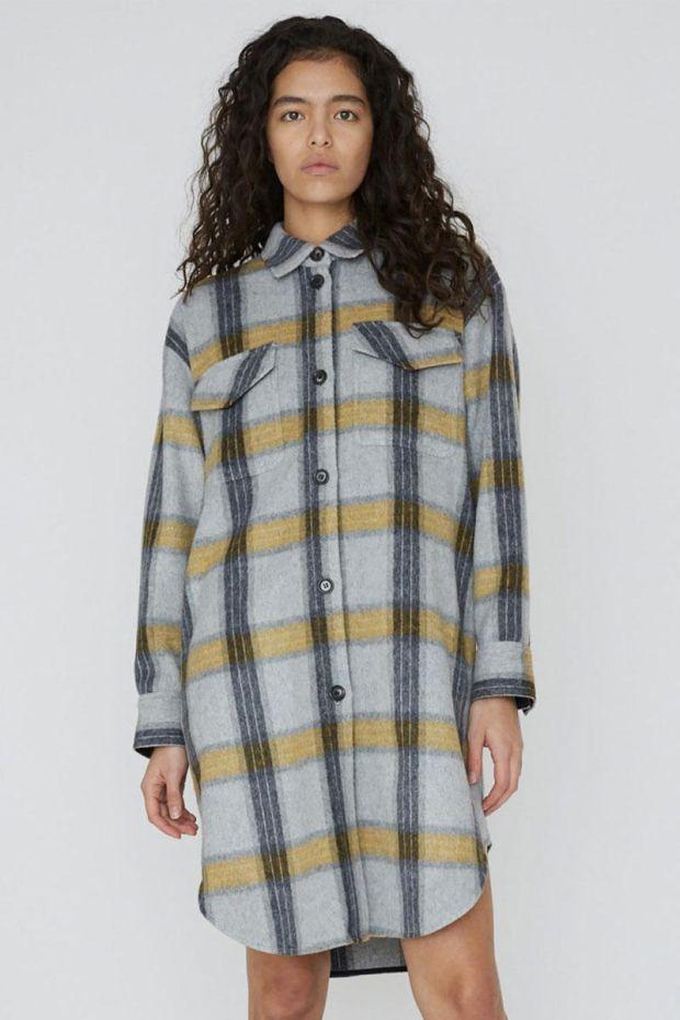 Designers Remix Manteau Amara Shirt Coat - YellowGrey Check