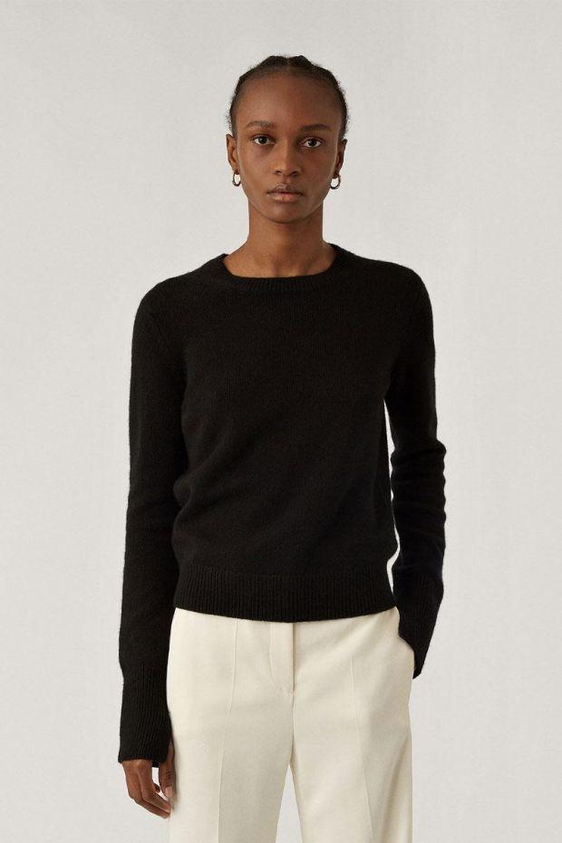 Joseph Pull Rd Nk Pure Cashmere - Black