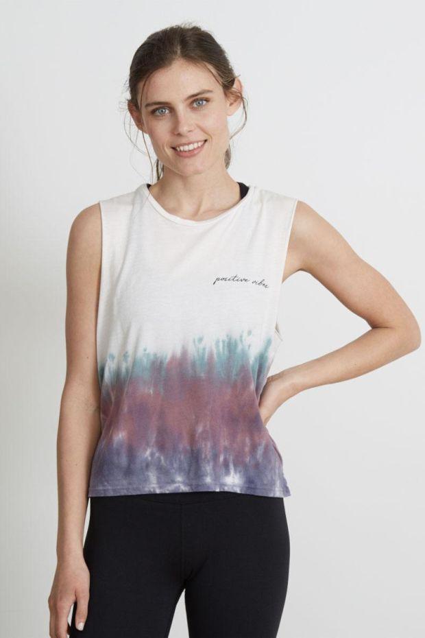 good hYOUman. T-Shirt LILI Positive Vibes Printed - Plum Bamboo