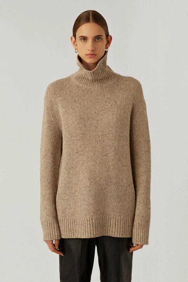 Joseph Pull Hight Nk Ls Tweed Knit - Blush