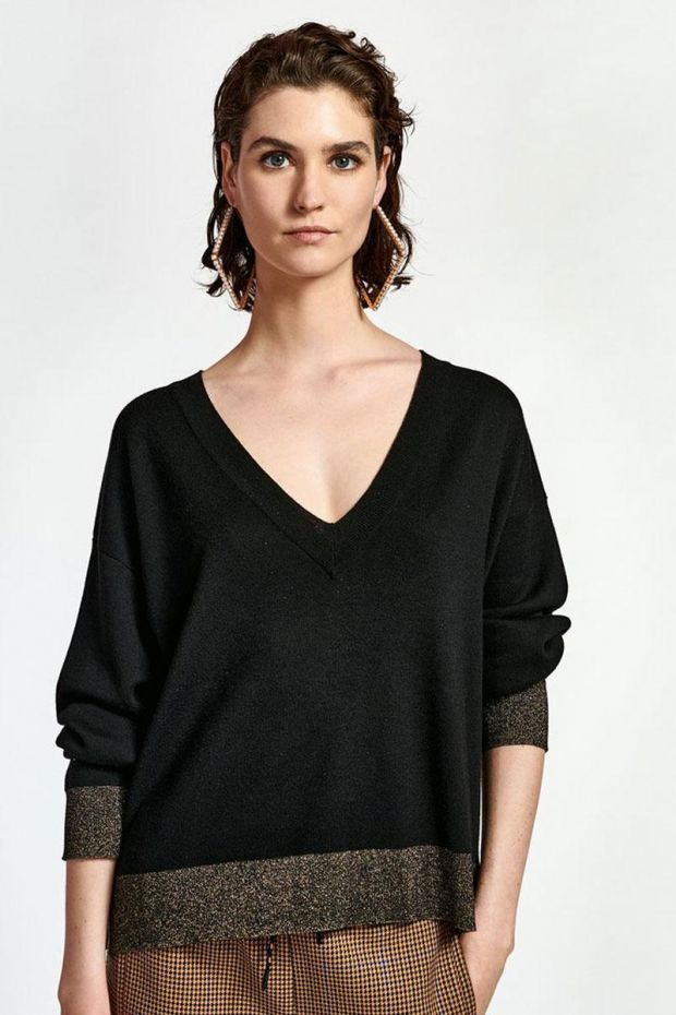 Essentiel Antwerp Pull WITANIUM Lurex V Neck Pullover - Black