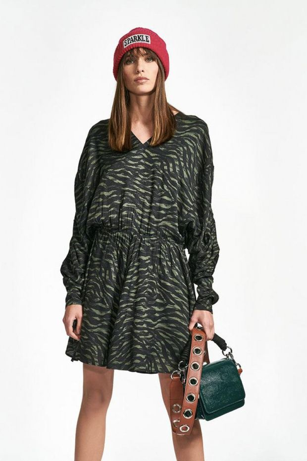 Essentiel Antwerp Robe WHEELBARROW ruched dress - Combo Polo Green