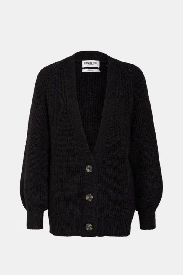 Essentiel Antwerp Gilet WORMY lon soft cardigan - Black