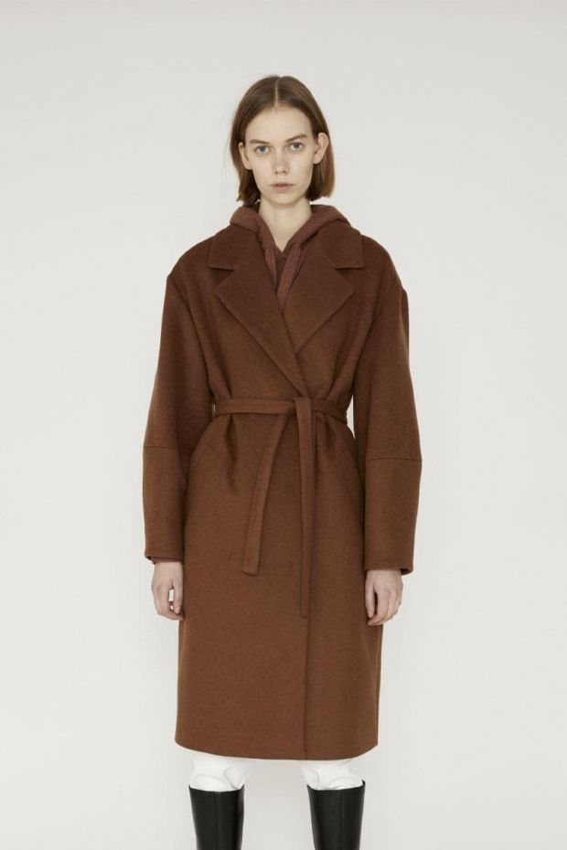 Designers Remix Manteau CYRUS Belt Coat - Camel