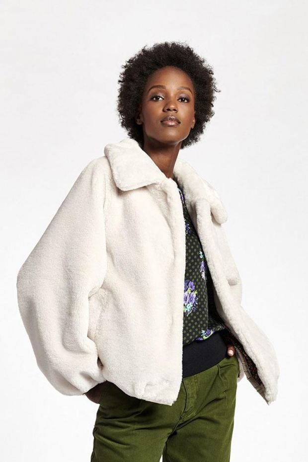 Essentiel Antwerp Blouson WYNTER Fake Fur Bomber - Off White