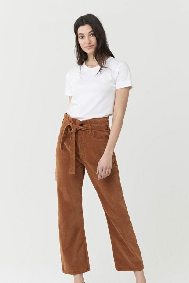 3x1 Denim Pantalon KELLY PAPERBAG - Russet