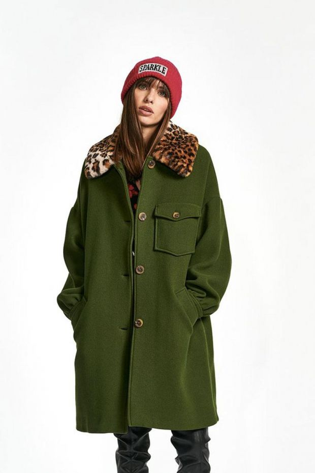 Essentiel Antwerp Manteau WORM Coat with Leopard Collar - Palace Green