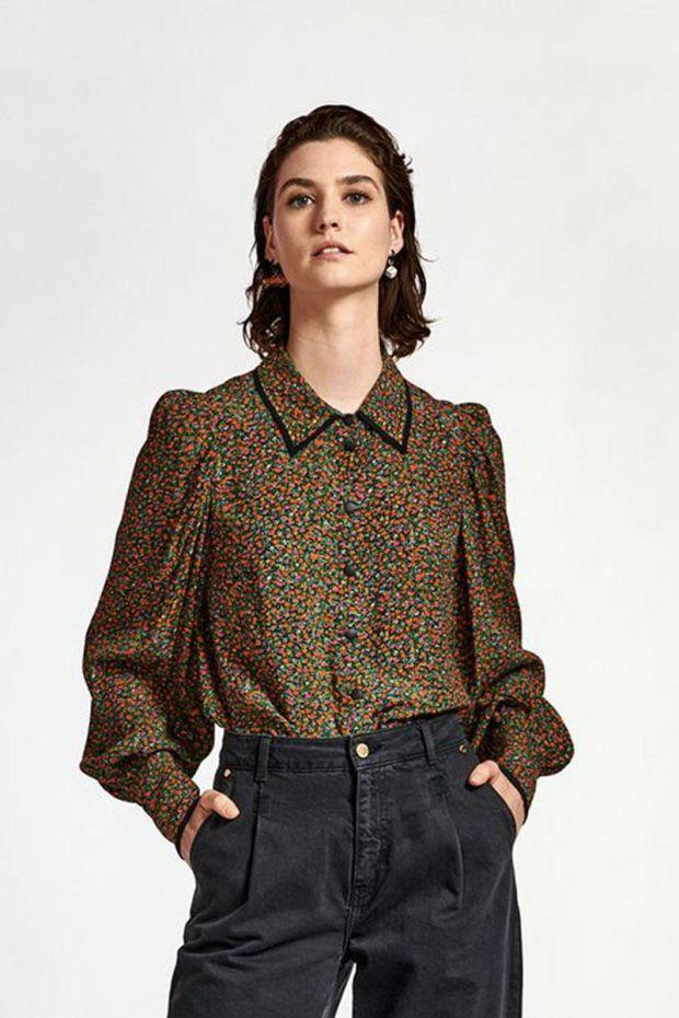 Essentiel Antwerp Blouse WOST Puffy sleeve Shirt - Combo Black