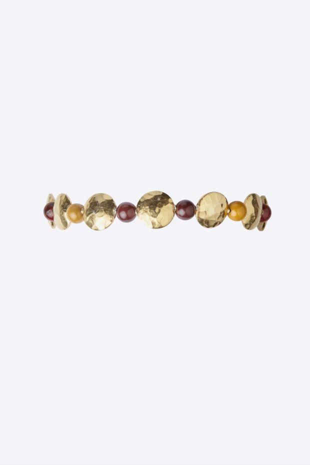 5 Octobre Bracelet BALOON - Argent doré Or fin & Jaspe Mokaïte