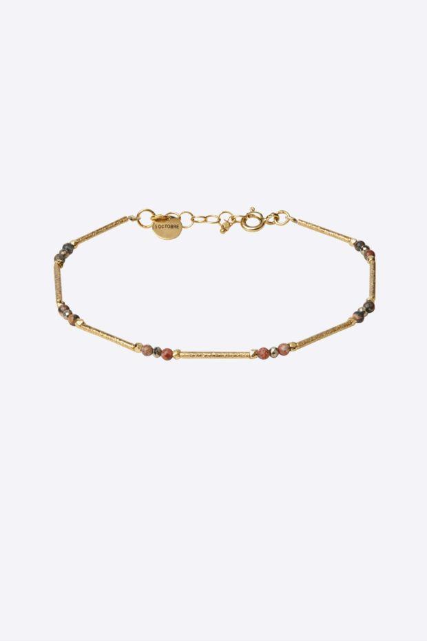 5 Octobre Bracelet ELLA Pyrite - Argent doré Or fin & Jaspe