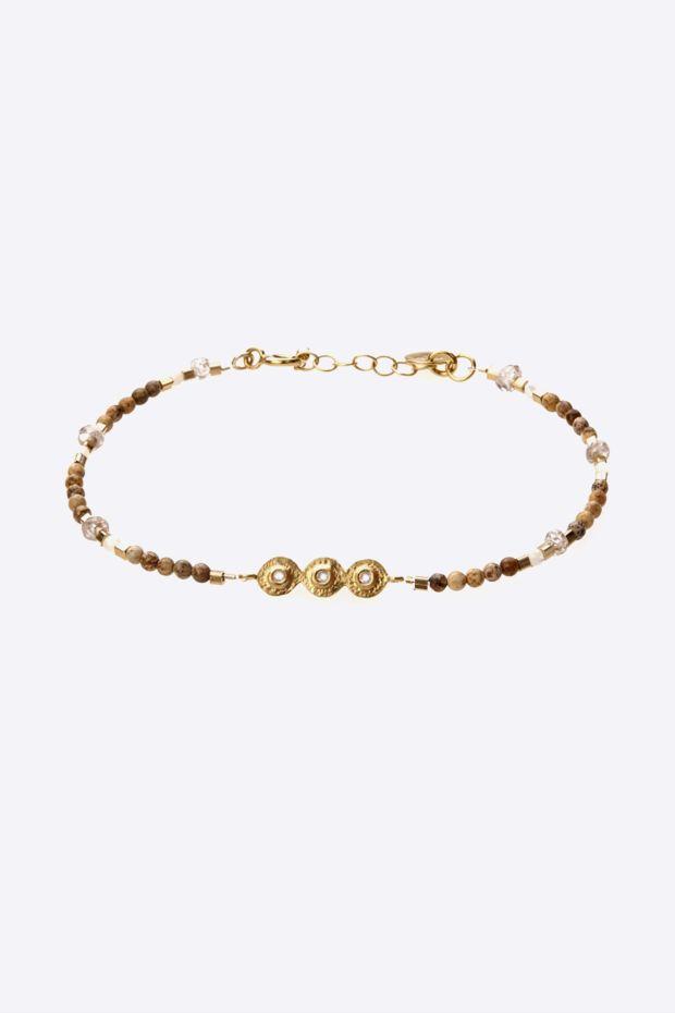 5 Octobre Bracelet MILLE N°2 Pierre de Lune - Argent doré Or fin