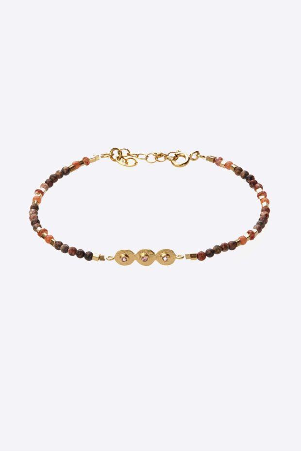 5 Octobre Bracelet MILLE N°2 Tourmaline Rose - Argent doré Or fin