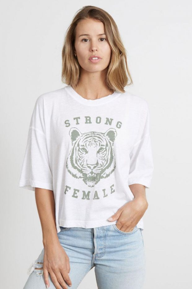 good hYOUman. T-Shirt APPLE - Strong Female - Optic White
