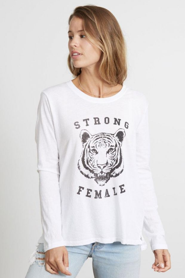 good hYOUman. T-Shirt SUZANNE Strong Female - Optic White