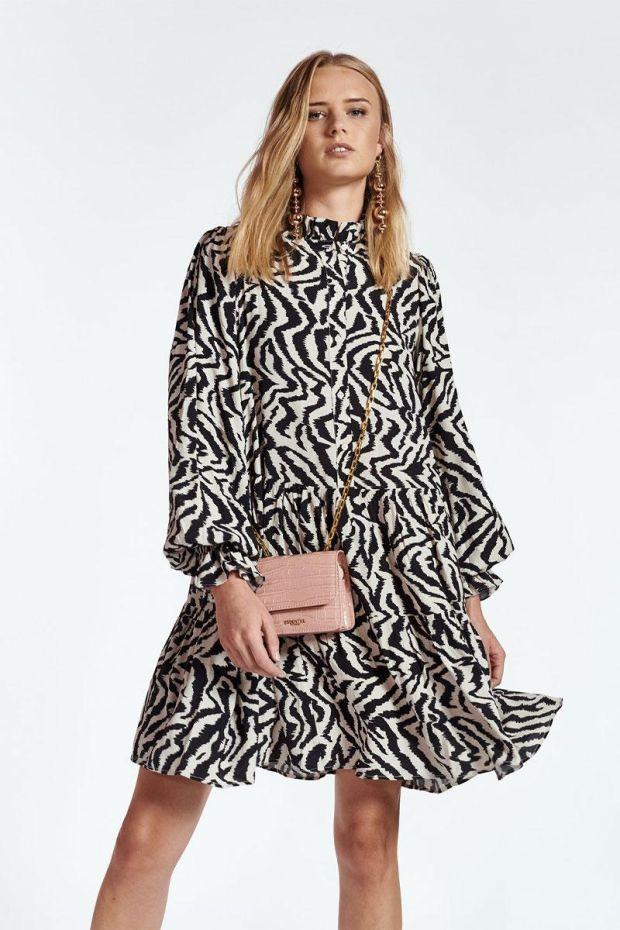Essentiel Antwerp Robe ZOKU Ruffled Collar Dress - Combo Black