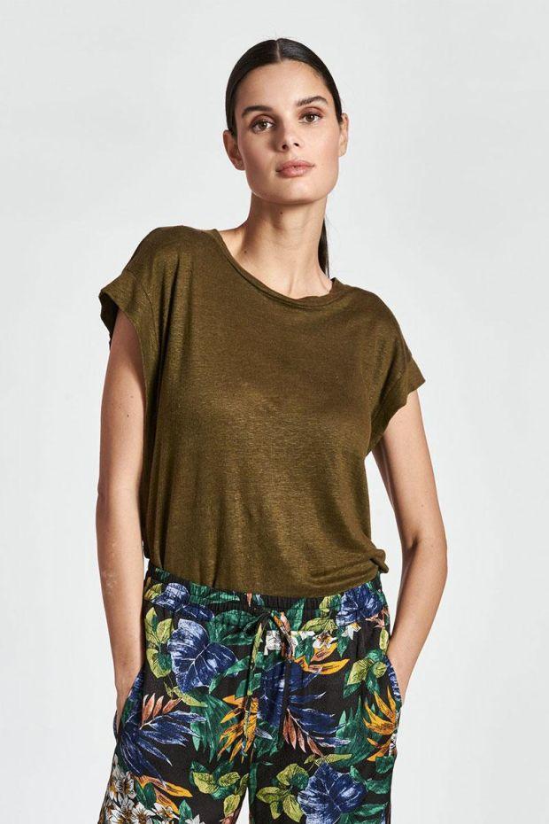 Essentiel Antwerp T-Shirt ZEARLY Linen - Jungle Green