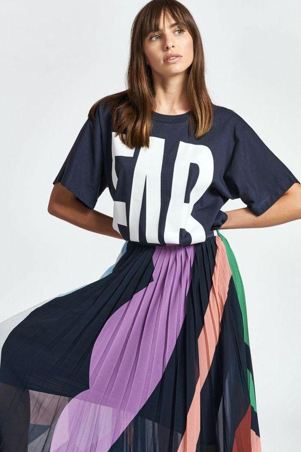 Essentiel Antwerp T-Shirt ZYAD With Text Print - Parisian Night