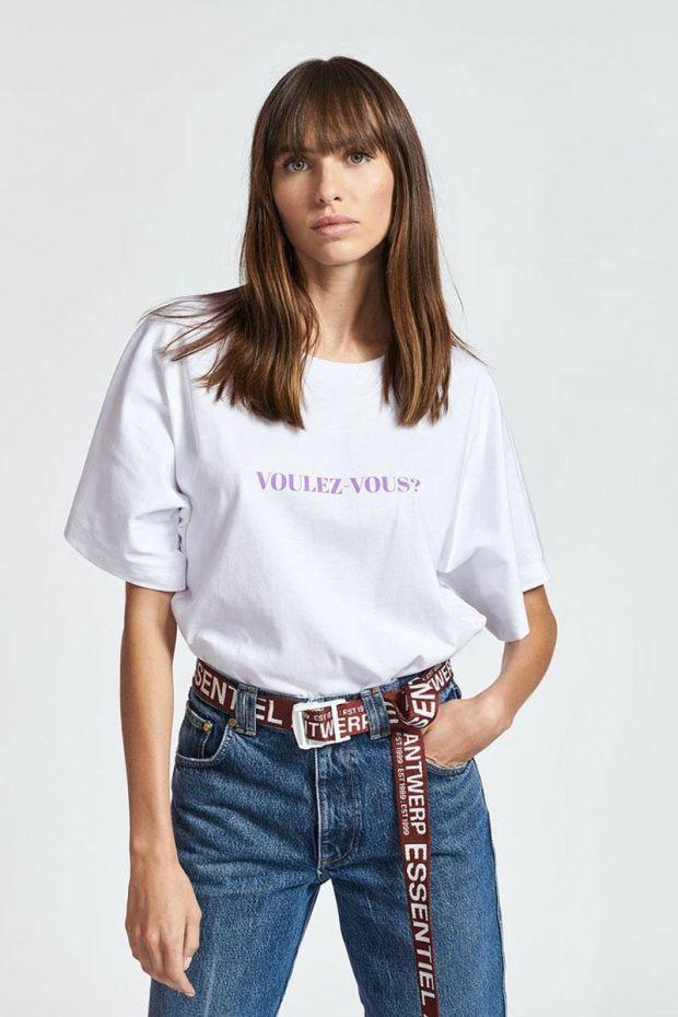 Essentiel Antwerp T-Shirt ZYAD Whit Text Print - White