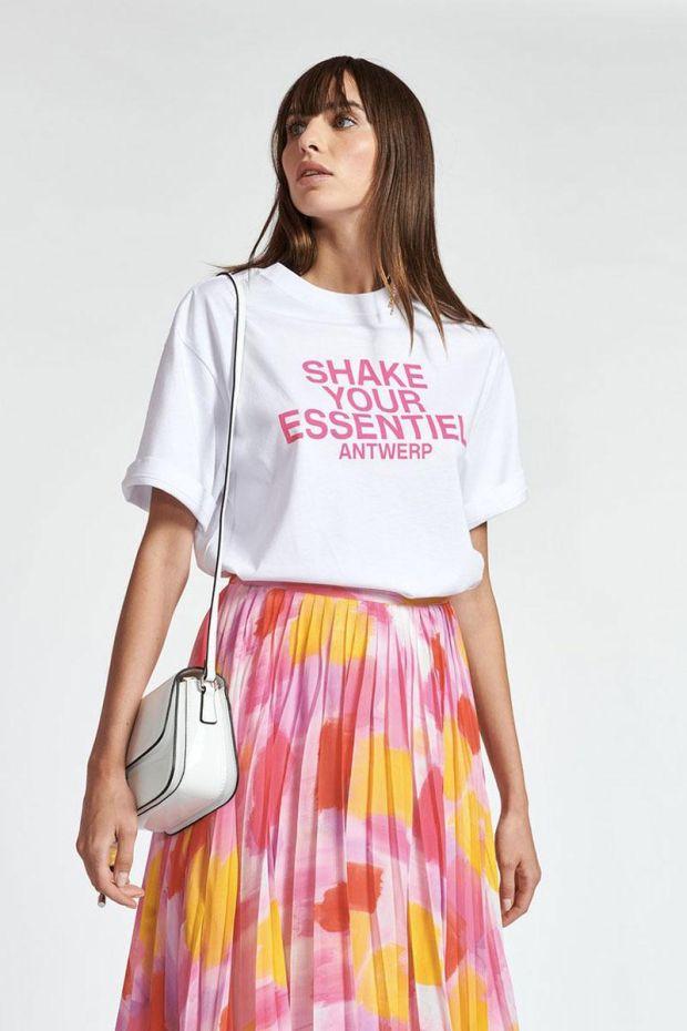 Essentiel Antwerp T-Shirt ZOLOGNE Whit Text - White