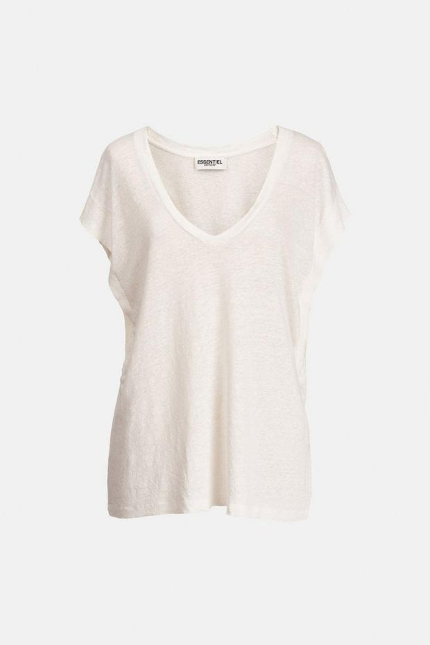 Essentiel Antwerp T-Shirt ZINNIA V Neck - Off White