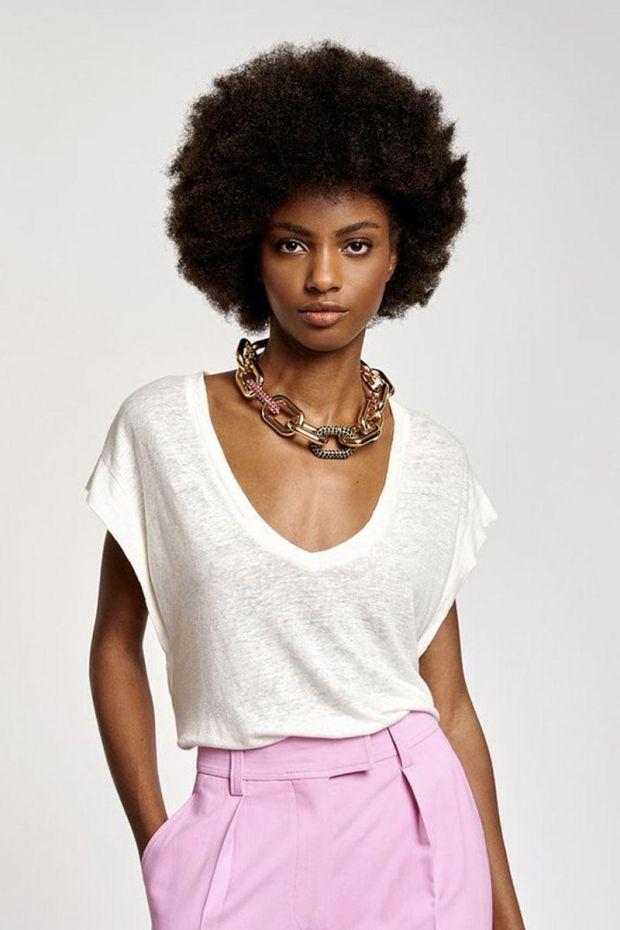 Essentiel Antwerp T-Shirt ZINNIA V Neck - Off White