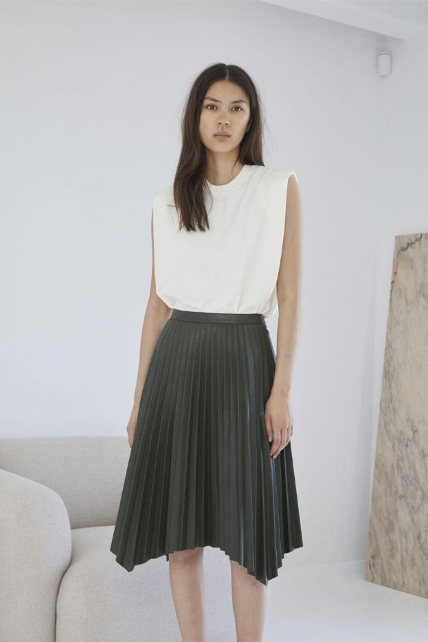 Designers Remix Jupe MARIE Pleated Skirt - Olive