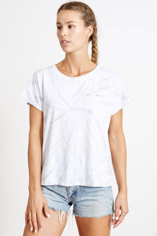 good hYOUman. Tee Shirt CLAIRE - Thankful - Grey hurricane