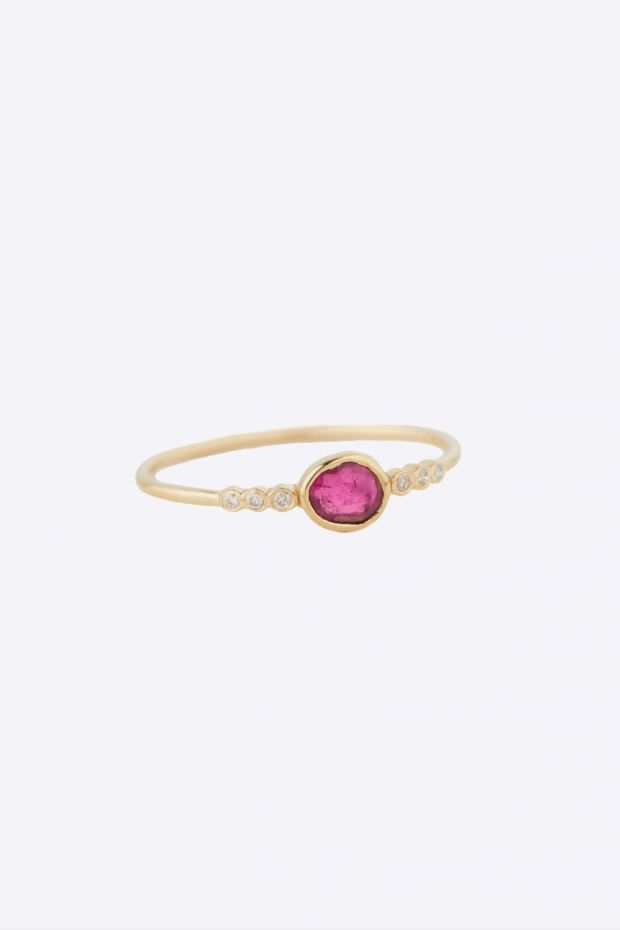 CELINE DAOUST Bague Tourmaline & Six Diamonds Gradation