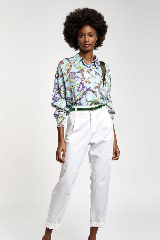 Essentiel Antwerp Pantalon ZERROR Loose Fit Pants - White