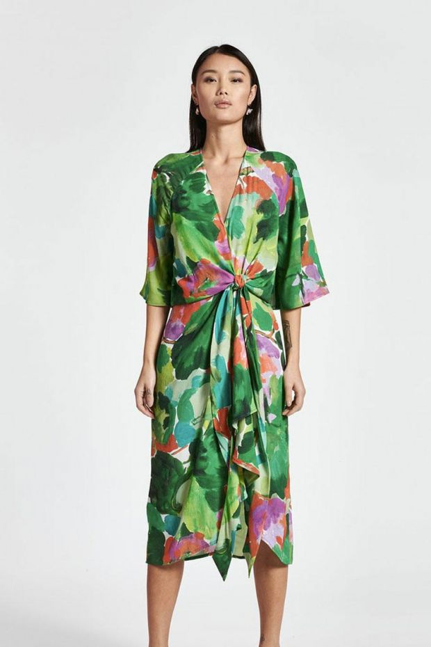Essentiel Antwerp Robe ZEVANGELIA Knotted Midi Dress - Combo Alhambra