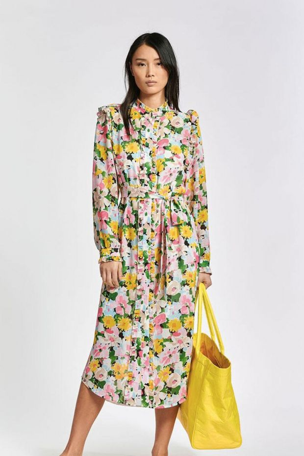 Essentiel Antwerp Robe ZIDER ruffle detail shirtdress - Combo Ballerina