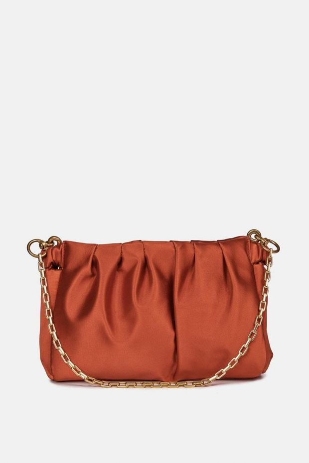 Essentiel Antwerp Pochette ZERMIT Large satin evening bag - Spicy Orange