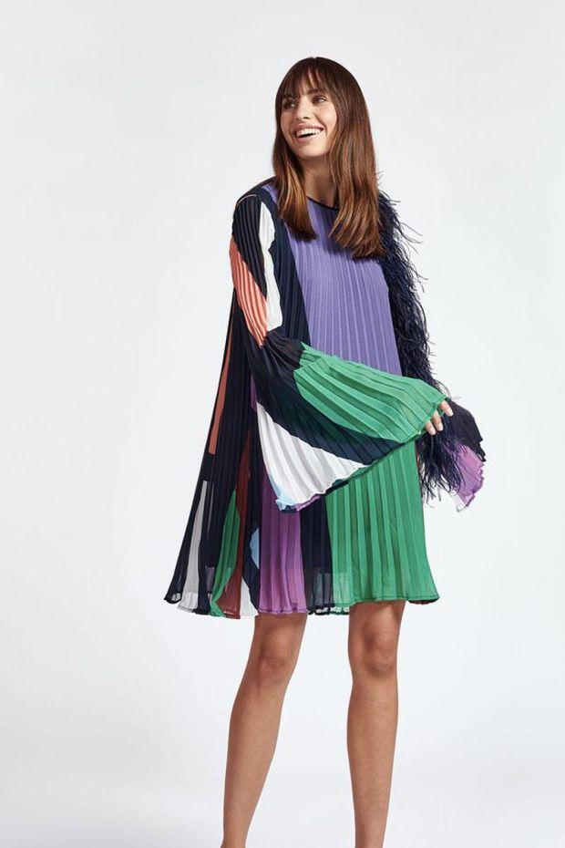 Essentiel Antwerp Robe ZISSE pleated Mini dress - Combo Parisian Night