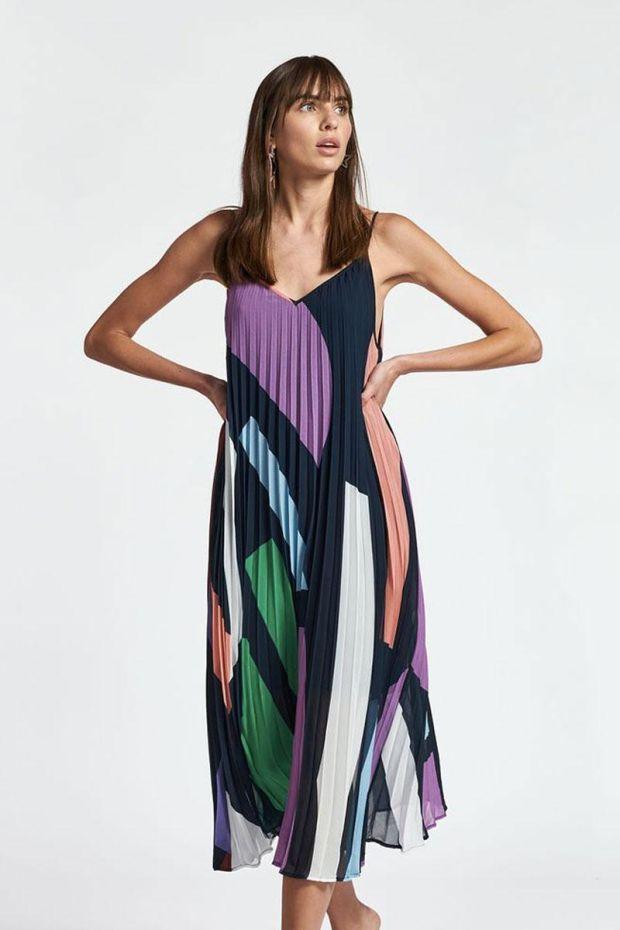 Essentiel Antwerp Robe ZAGUE pleated Slip dress - Combo Parisian Night