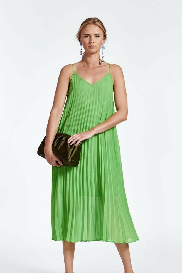 Essentiel Antwerp Robe ZAGUE pleated Slip dress - Flash lime