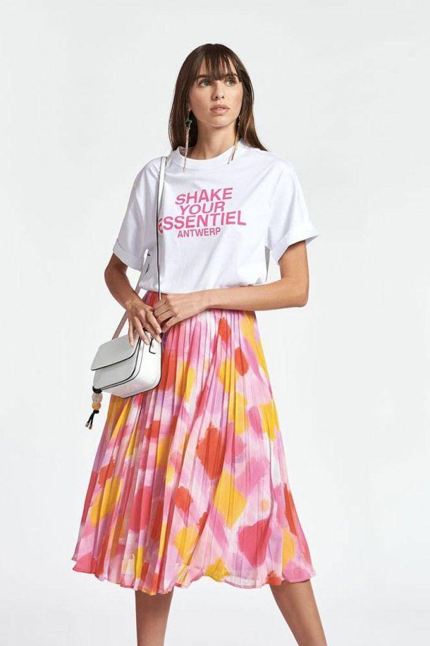 Essentiel Antwerp Jupe ZALERIE pleated Skirt - Combo Super Pink