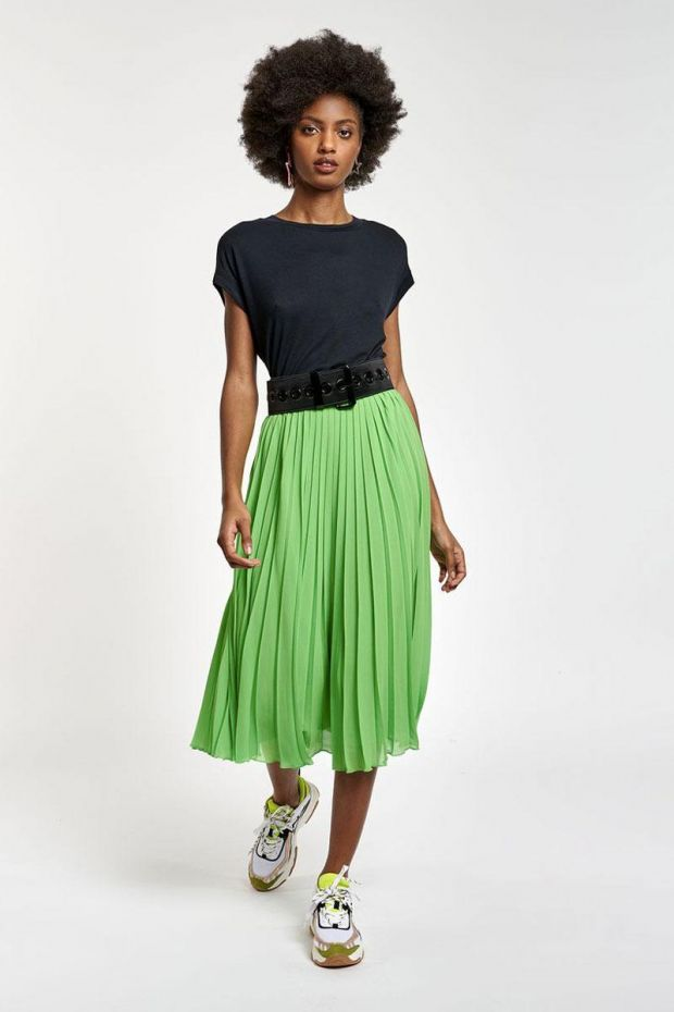 Essentiel Antwerp Jupe ZALERIE pleated Skirt - Flash Lime