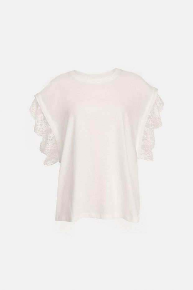 Essentiel Antwerp T-shirt ZOLLYWOOD with Lace - Off White