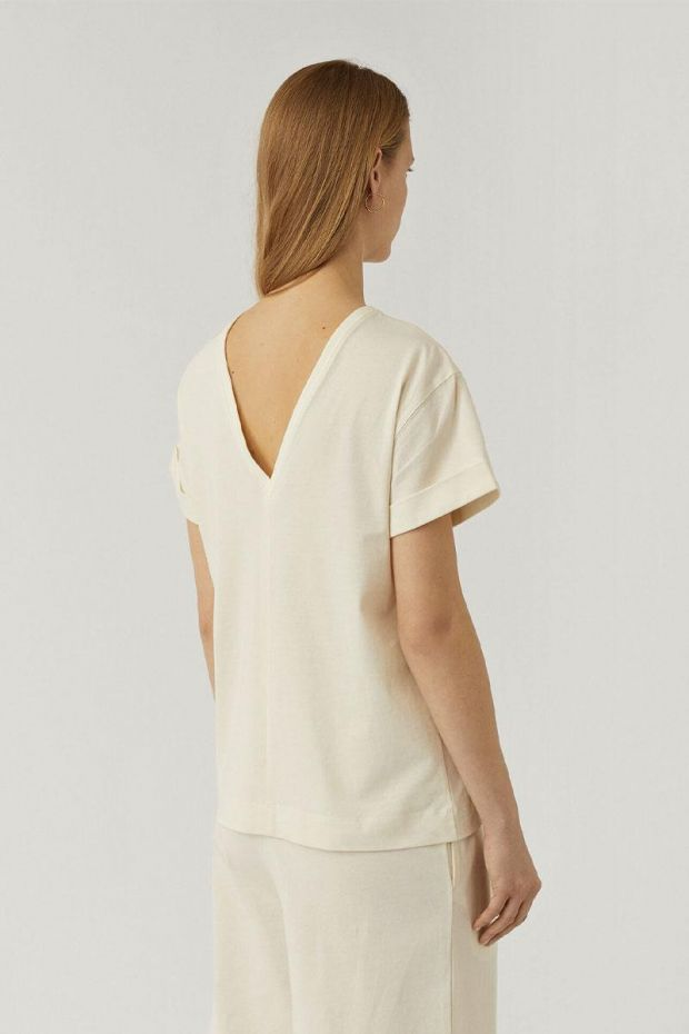 Joseph T-Shirt Rd Nk Ss Paper Jersey - Ivory