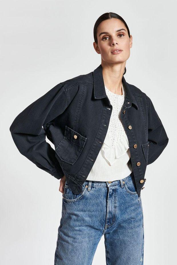 Essentiel Antwerp Veste ZELFIE Colour Denim Jacket - Black