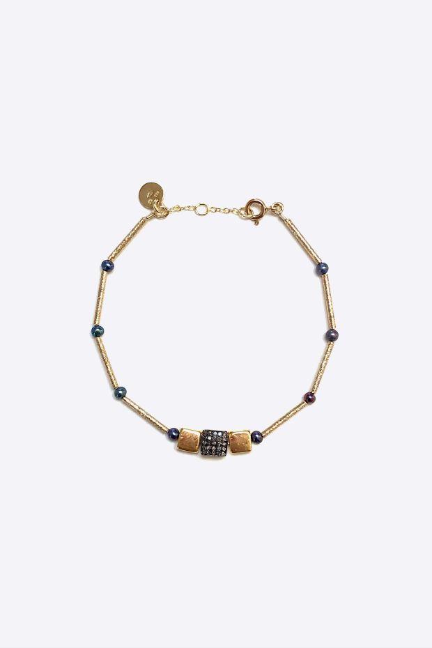 5 Octobre Bracelet SQUARE - Argent doré Or fin, Fresh water pearl & Diamonds