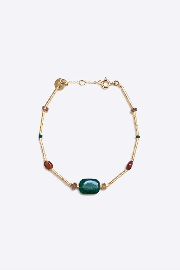 5 Octobre Bracelet SAM - Argent doré Or fin & Pierres naturelles