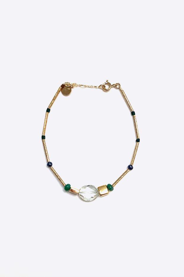 5 Octobre Bracelet AME - Argent doré Or fin & Pierres naturelles
