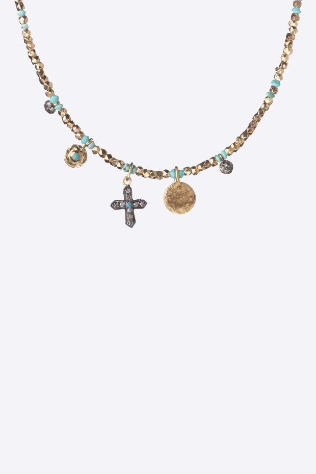 5 Octobre Collier MOE - Argent doré Or fin, Diamants & Turquoises